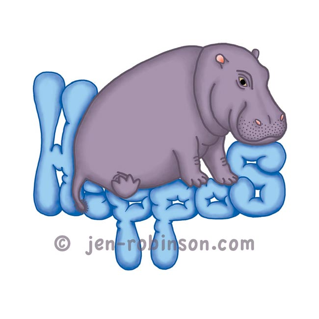 blue squashy hippo design for my hippopottermiss store on redbubble