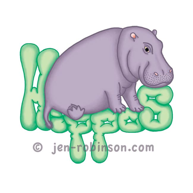 squashy hippo design with green lettering for my hippopottermiss tee-shirt shop on Redbubble