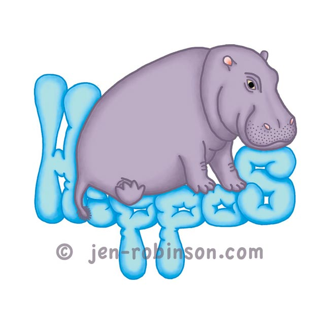 blue squashy hippo tee-shirt design for Redbubble