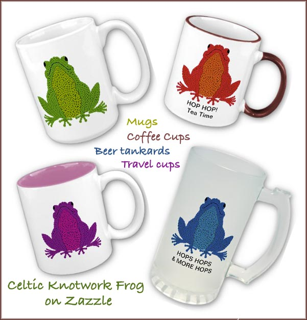 celtic knotwork frog mugs