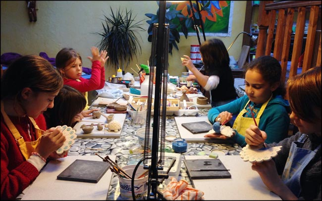 children's clay modelling class