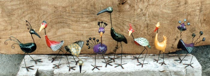 line of imaginary bird sculptures