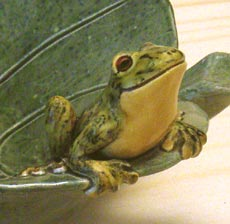frog on a leaf salad dish