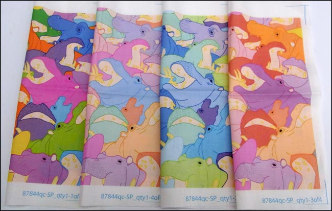 happy hippos fabric