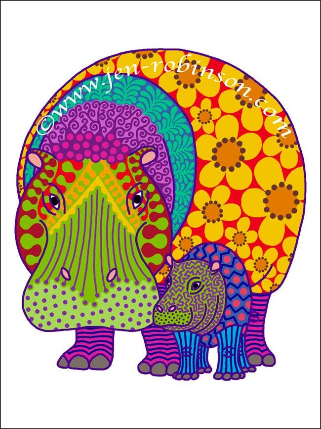 Hippiepotamus & Baba tee-shirt design. Psychedelic version.