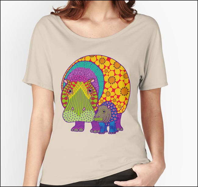 Hippiemptamus & Baba design on a women's T-shirt available on Redbubble.