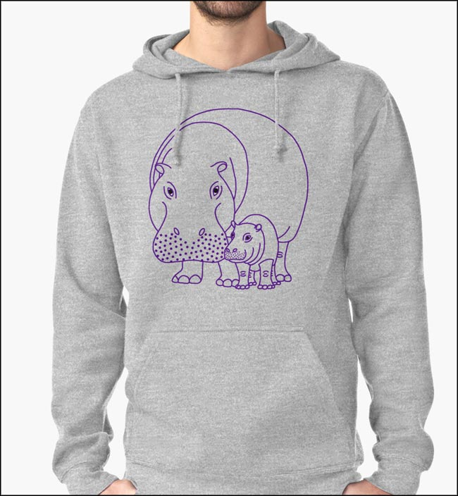 Mommapotomus & Baba design on a Redbubble grey sweatshirt.